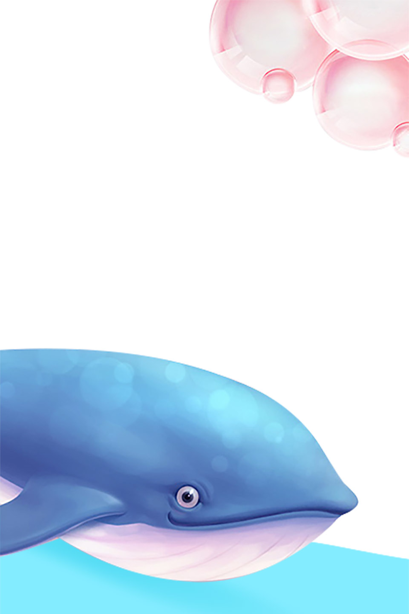卡通六一儿童节手绘鲸鱼边框