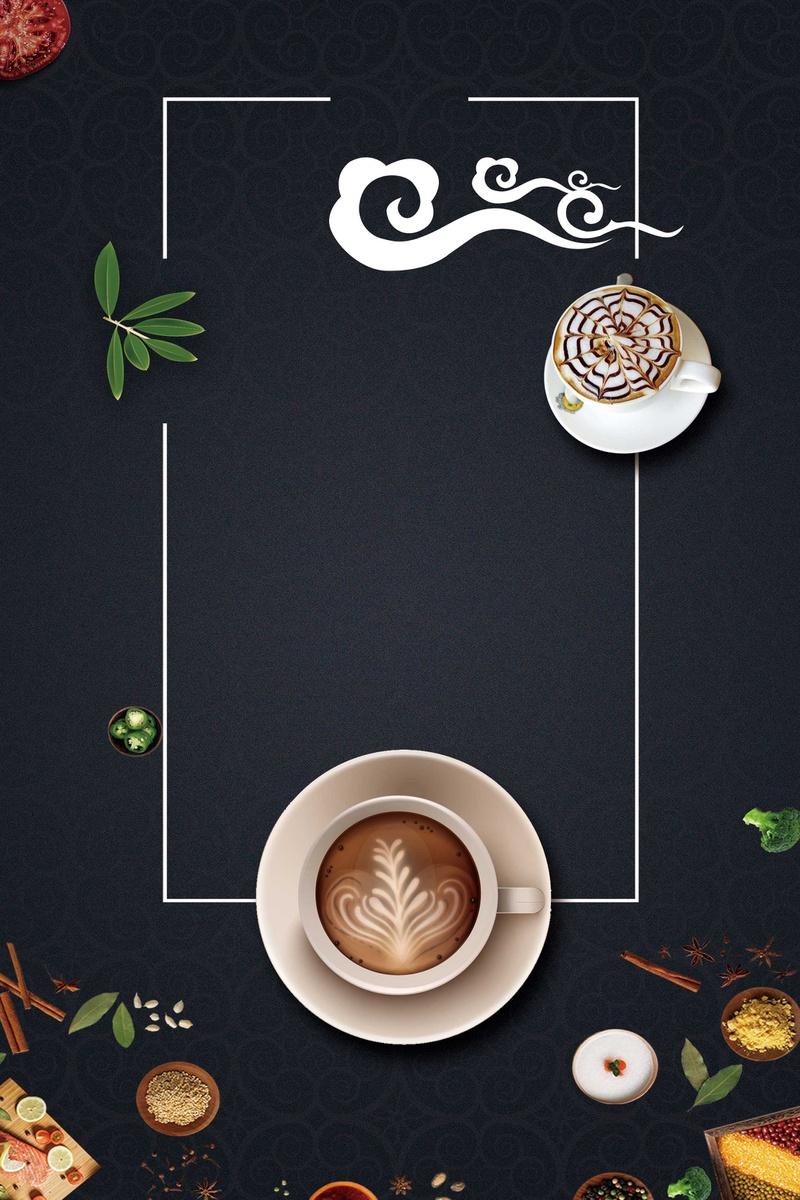 中国风边框咖啡背景