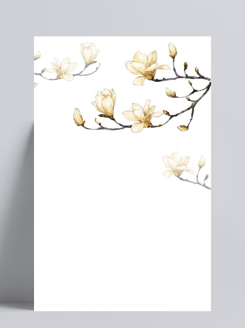 水墨花朵广玉兰边框装饰