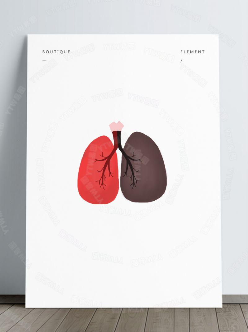 卡通黑色红色肺部素材透明psd免抠