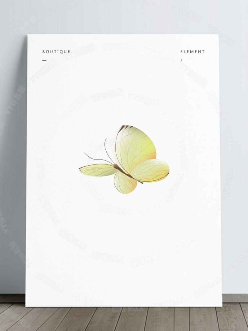淡黄色蝴蝶飞翔素材免抠透明