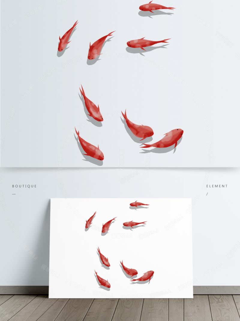 红色锦鲤鲤鱼群元素免抠透明