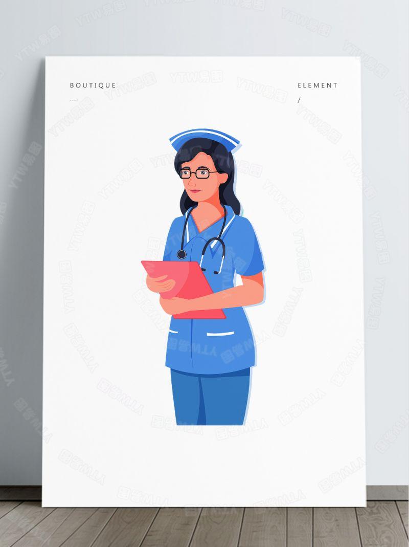 护士手捧病例表卡通免抠素材